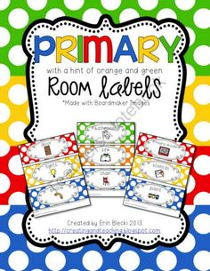 Primary Colored Classroom Labels- label objects and materials around your classroom to create a print rich environment!