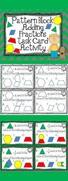 Pattern Block Fraction Task Cards Math Centers   Teaching ...