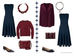 Two ways to wear a navy dress with burgundy or maroon accents