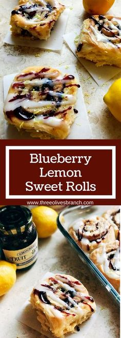 Morning sweet rolls that are perfect for Thanksgiving and holidays. Make the rolls the night before for an easy and fast breakfast. Blueberry and lemon make these vegetarian rolls tart yet sweet. Perfect for breakfast and brunch! Blueberry Lemon Sweet Rolls | Three Olives Branch | www.threeolivesbr... #EasyHolidayEats #ad