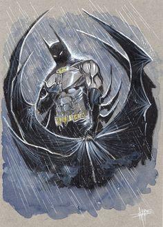 Batman under the rain  Comic Art