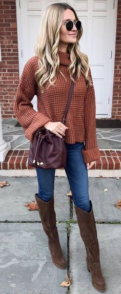 brown and denim | sweater bag over knee boots skinnies