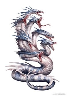 Creature Spot - The Spot for Creature Art, Artists and Fans. Hydra Jake: I like the texture of the skin of this hydra looking monster. Mythical Creatures Art, Mythological Creatures, Magical Creatures, Fantasy Dragon, Dragon Art, Fantasy Art, Sea Dragon, Myths & Monsters, Fantasy Beasts