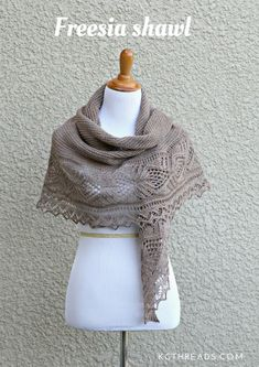 Freesia shawl knitting pattern Knitting Designs, Knitting Patterns, Knitted Shawls, Shawls And Wraps, Scarf Wrap, Knit Crochet, Sewing, Lace, Knits
