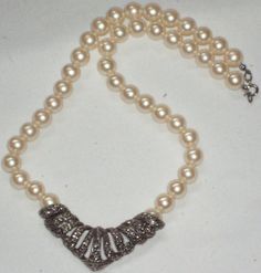 Avon Necklace Ivory Pearls Marcasite Pendant by outoftheattic2u, $25.00