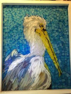 Stained glass mosaic pelican courtesy of Kickin' Glass Kansas.