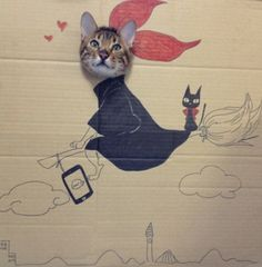 """Cat Sticks His Face Through Cardboard, and It's Art  by Eliot Glazer.  """"The cat's name is Guagua (""""瓜瓜""""), and it was Guagua's birthday celebration, for which its owner ... drew these characters on cardboard. Characters and anime included in this awesome 'cosplay' [are] Christine Mi, Dino, Gold Sparkle, Kiki's Delivery Service, QB, Green Drive, the Old Anchor, Gintama and Naruto."""""""