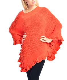 Look what I found on #zulily! Orange Ruffle Poncho by SUE & KRIS #zulilyfinds