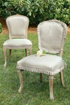 Have slip covers like these made for my breakfast nook French chairs. Citeaux Abbey Side Chair - Oak ~ Soft Surroundings
