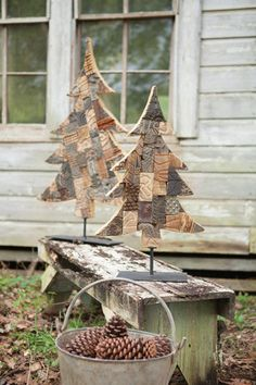 Kalalou Recycled Wooden Printing Block Tree With Metal Base - This wooden Christmas tree is made from a patchwork selection of recycled antique printer's blocks and would make a perfect centerpiece to any Holiday arrangement. Welcome this rustic addition your festive decor and add a homespun touch to your living room