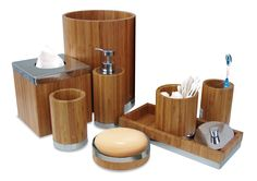 Bamboo Bathroom Accessories Set - Matching pieces include cotton swab/cotton container,soap dish,toothbrush holder,tumbler,soap and lotion pump,wastebasket,boutique tissue,amenity tray