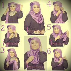 Hijab Tutorial for Shawl ROSELLA. Other hijab tutorial here, http://www.scarfsweethoney.com/p/hijab-tutorial.html