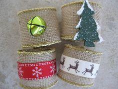 Burlap Holiday Napkin Rings Christmas Napkin Rings by TheSleepyDog, $12.00
