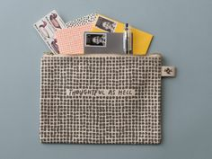 """TILES CANVAS CARD POUCH - Social Preparedness Kit $28.00 Large, sturdy, canvas card pouch screen-printed and sewn by hand to store all you need to pen a note! 9"""" x 6"""""""