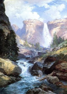 Thomas Moran Waterfall in Yosemite painting for sale - Thomas Moran Waterfall in Yosemite is handmade art reproduction; You can shop Thomas Moran Waterfall in Yosemite painting on canvas or frame. Watercolor Landscape, Landscape Art, Landscape Paintings, Landscapes, Fall Paintings, Landscape Drawings, Contemporary Landscape, Landscape Design, Thomas Moran