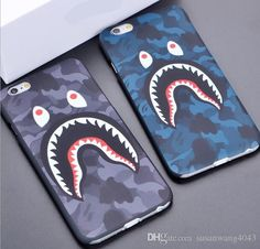 3D cartoon phone case cases for iphone7 iphone 7 6 6S plus 5S hard PC defender case camouflage shark protector case