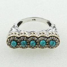 Turquoise & Cubic Zirconia Stone Attractive Designer Look 925 Sterling Silver Ring With Brass by JaipurSilverIndia on Etsy