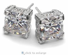 Ziamond cubic zirconia 2.5 carat 8mm x 8mm each cushion cut square stud earrings in 14k white gold.  The Decadence Stud Earrings feature the finest hand cut and hand polished original Russian formula cz set in 14k white gold, 14k yellow gold or platinum. #ziamond #cubic zirconia #cushion cut #earrings #studs #wedding #bridal #14k gold #platinum