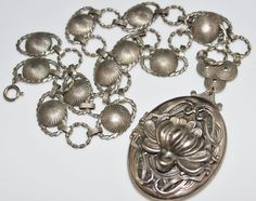 Vintage Victorian Revival Silver Lotus Flower Locket, Book Chain Necklace