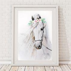 Watercolour Willow Horse print by Bespoke Moments - Worldwide Shipping. Horse Nursery, Nursery Art, Girl Nursery, Themed Nursery, Horse Themed Bedrooms, Horse Bedrooms, Canson, Watercolor Horse, Horse Print