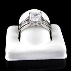 2 Ct Princess Cut 2 Piece Engagement Wedding Ring Band Set Solid 14K White Gold #AffinityGold #SolitairewithAccents