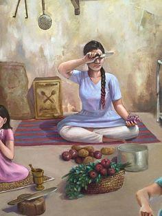 Art Village, Indian Village, Watercolor Architecture, Scrapbook Background, Indian Folk Art, Indian Art Paintings, Art Drawings For Kids, Hindu Art, Victorian Art