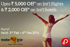 MakeMyTrip Offers International Flights UPTO Rs.5000 Off and International Hotels UPTO Rs.2000 Off. Offer Valid Till 6th Feb 2016. Minimum Booking Rs. 25000 for Rs.5000 off on International Flights. Minimum Booking Rs. 5000 for 30% Instant Discount Use Wallet & Save 40% More (Upto Rs.4000).  #DilTohRoamingHai    http://www.paisebachaoindia.com/international-flights-upto-rs-5000-off-and-international-hotels-upto-rs-2000-off-makemytrip/