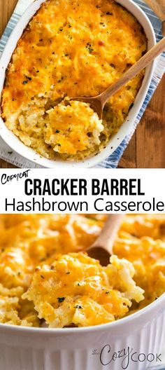 This Copycat Hashbrown Casserole tastes just like the Cracker Barrel version and is so easy to make. You can even make it ahead of time and can freeze leftovers! # breakfast casserole with hashbrowns Copycat Cracker Barrel Hashbrown Casserole Cracker Barrel Hashbrown Casserole, Hashbrown Breakfast Casserole, Brunch Casserole, Easy Hash Brown Casserole, Cracker Barrel Hash Brown Casserole Recipe, Crockpot Hashbrown Casserole, Cracker Barrel Pancakes, Make Ahead Breakfast Casserole, Cracker Barrel Recipes