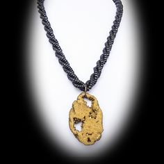 Gold Quartz Geode Pendant on Black Beaded Necklace