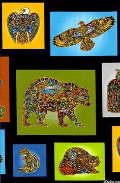 from eQuilter.com Animal Spirits - Totem Squares - Black/Gold by Robert Kaufman Fabrics