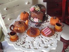Dollhouse Miniature One inch Scale Pumkin Tea Set by Cspykersminiatures   eBay