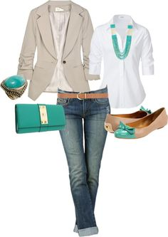 This Pin was discovered by Blanca Arredondo. Discover (and save!) your own Pins on Pinterest.   See more about khaki blazer, white shirts and turquoise.