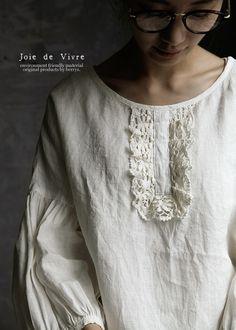 【送料無料】Joie de Vivreコルトレイクリネンワッシャーフラックスレースプルオーバー