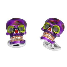 Deakin & Francis Purple and Green Mexican Skull Cufflinks | From a unique collection of vintage cufflinks at https://www.1stdibs.com/jewelry/cufflinks/cufflinks/
