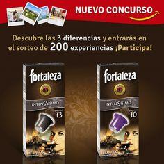 Descubre las 3 diferencias del pack de Café Fortaleza Intenssísimo y entrarás en el sorteo de 200 Experiencias.    Participa. Marca tus respuestas indicando cuáles son las 3 diferencias. No olvides rel