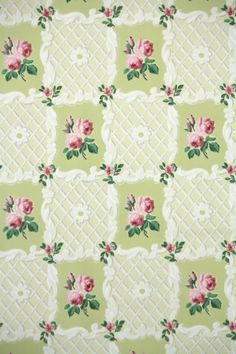 vintage wallpaper green with pink roses