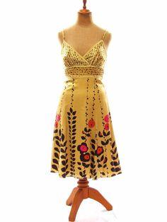 TED BAKER London Womens Yellow Silk Blend Floral Summer Dress Sundress Size 1 #TedBaker #FitandFlare #Cocktail
