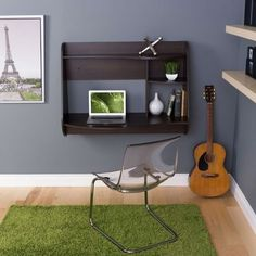 Espresso Wall-Mount Modern Floating Desk for Laptop Computer or Tablet