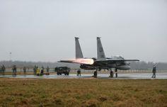 Ground crews perform engine checks on an F-15C Eagle from RAF Lakenheath, England, at the flightline on Siauliai Air Base, Lithuania, on Jan. 4, 2014. Lakenheath has deployed an additional six Eagles at the request of Baltic allies. Nigel Sandridge/U.S. Air Force