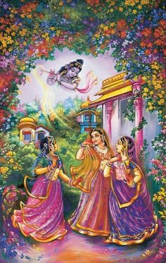 Gopis are dancing in the love of Krishna : A painting