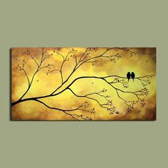 Blue, orange, pink and gold abstract painting on gallery wrapped canvas. Tree Art, Bird Art, Beautiful Birds, Painting Inspiration, Painting & Drawing, Illustration, Cool Art, Art Projects, Art Photography