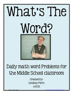 50 math word problems to use in any middle school classroom,not just math classrooms! This resource is a great way to encourage students to practice solving basic word problems - often discouraging to most students! Included are 50 problem cards and a weekly worksheet for students to use when solving problems.