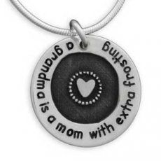 """""""Grandma is a mom with extra frosting"""" Etched Grandma Circle of Love Necklace, $64. Looks like a good Christmas present for grandma from the boys."""