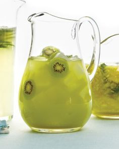 Kiwifruit Caipiroska (Brazilian caipirinha uses vodka in place of the usual cachaca): 6 peeled kiwifruits. 3 cups tonic. 1 cup Limeade. 1/2 cup vodka. Ice cubes. Peeled kiwifruit slices, for garnish