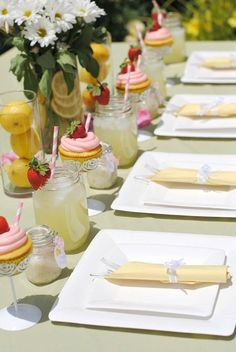 bridal shower decorations This lemon party is a perfect summer bridal shower theme to celebrate the bride. Sweet lemon themed tablescape, bridal shower favors, decorations and Bridal Shower Table Decorations, Summer Wedding Centerpieces, Bridal Shower Tea, Bridal Shower Favors, Decoration Table, Wedding Table, Wedding Hair, Wedding Favors, Favors