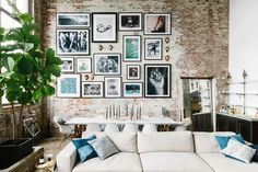 The Insider: Hip, Casual Decor Cozies Up Williamsburg Industrial Loft with Soaring Ceilings Casual Decor, Industrial Loft, Inspiration Wall, Frames On Wall, Apartment Living, Interior Design, Gallery Walls, Album, Home Decor