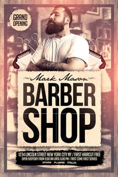 FREE Barber Shop Flyer Template - http://xtremeflyers.com/free-barber-shop-flyer-template/ FREE Barber Shop Flyer Template   FREE Barber Shop Flyer Template PSD was designed to advertise your barber shop for a grand opening or for a promotion .  The design is well sorted in folders , color coordinated and all the elements can be removed or rearranged as you please . The textures #BarberShop, #Barbershop, #Business, #Flyer, #Free, #Freebie, #Professional, #Psd, #Retro,