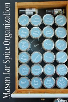 Mason jar spice organizer drawer .... again I would totally fork up for something cute & matchy like this
