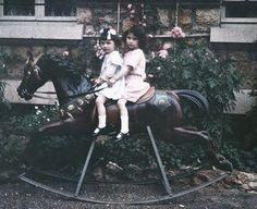 vintage everyday: Children in Vintage Autchrome Prints – 37 Stunning Color Photos of Little Girls in the Antique Rocking Horse, Rocking Horse Toy, Vintage Pictures, Old Pictures, Old Photos, Vintage Images, Vintage Art, Nostalgia, Wooden Horse