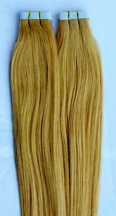 100% Human Tape In Hair Extensions #24 Light Golden Blonde http://shop.hairfauxyou.com/Tape-In-Hair_c105.htm